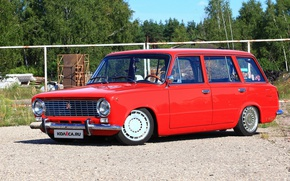 Картинка Россия, красная, универсал, Жигули, ВАЗ-2102