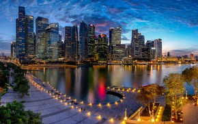 Картинка огни, вечер, Сингапур, мегаполис, Singapore, Marina Bay