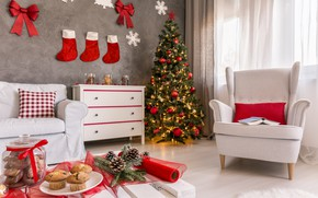 Картинка уют, стиль, комната, праздник, елка, новый год, декор