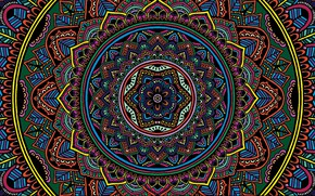 Картинка colorful, texture, color, selective coloring, Mandala