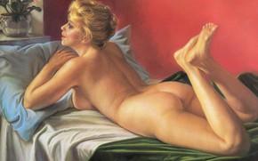 Картинка цветы, Весна, блондинка, на кровате, голая женщина, 1992г, А.Шилов