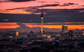 Картинка twilight, Germany, sunset, dusk, Berlin, cityscape, Fernsehturm, TV Tower