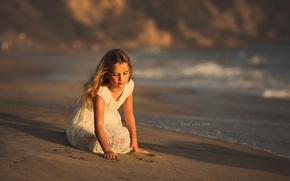 Картинка море, берег, девочка