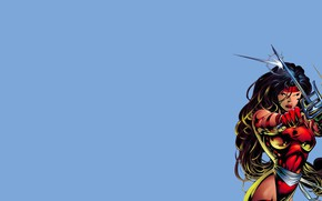 Картинка девушка, комикс, марвел, Marvel Comics, Электра, Elektra Natchios, трезубцы