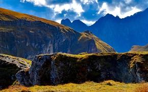 Картинка облака, горы, камни, скалы, солнечно, Словения