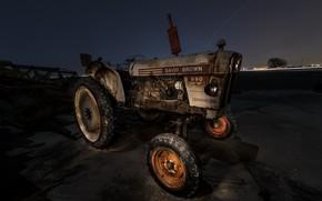 Обои фон, ночь, трактор