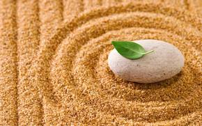 Картинка песок, камни, листик, stone, sand, zen