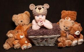 Картинка мех, корзинка, Baby, bear, шапочка, младенец, teddy, Cute