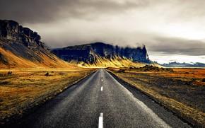Картинка дорога, облака, горы, Исландия