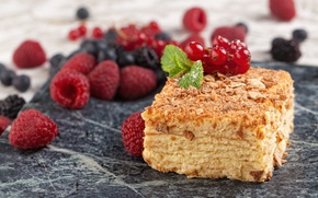 Картинка ягоды, малина, черника, торт, наполеон