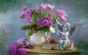 Картинка розы, букет, ангел, ракушка, книга, статуэтка