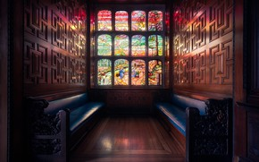 Обои окно, витражи, скамья, Лондон, Two Temple Place, Англия