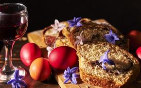 Картинка праздник, вино, яйца, пасха, кекс