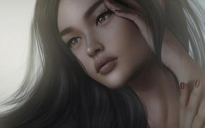 Картинка девушка, лицо, волосы, брюнетка