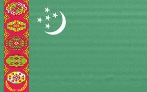 Картинка green, flag, ornament, Turkmenistan, Baydak, welayat, flag save, Turkmenistan flag