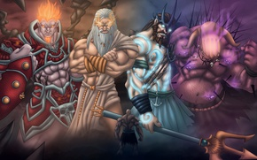 Картинка fire, flame, game, demigod, armor, Kratos, God of War, crown, God, Zeus, powerful, strong, muscular, ...