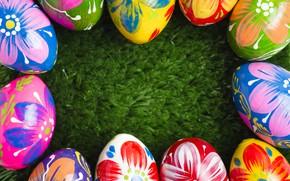 Картинка трава, весна, colorful, Пасха, spring, Easter, eggs, decoration, green grass, Happy, frame, яйца крашеные