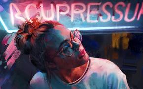 Картинка девушка, неон, арт, очки, Aaron Griffin