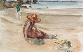 Картинка берег, рисунок, шляпа, Henri Lebasque, Анри Лебаск, Молодая Девушка