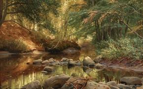 Картинка 1896, Danish realist painter, датский живописец, Петер Мёрк Мёнстед, Peder Mørk Mønsted, Весенний пейзаж, Spring …