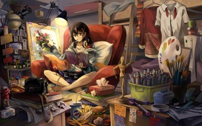 Картинка girl, anime, asian, japanese, oriental, asiatic, bishojo, headphone