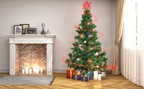 Обои шарики, огни, рендеринг, комната, праздник, игрушки, свечи, окно, подарки, Новый год, коврик, ёлка, камин, штора, ...