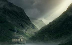 Картинка небо, горы, птицы, дом, ущелье, la lueur