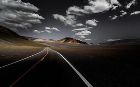 Обои дорога, горы, небо, долина