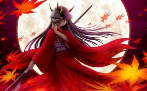 Картинка ветер, маска, рога, копье, кимоно, полнолуние, красные глаза, длинные волосы, кленовые листья, ёкай