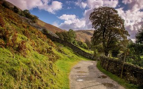 Картинка дорога, горы, склоны
