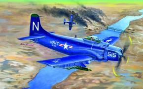 Картинка Мост, Рисунок, Дым, Река, США, Douglas, Штурмовик, Корейская война, USMC, Поршневой, AD-4NA Skyraider