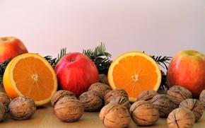 Картинка Яблоко, Апельсин, Орехи