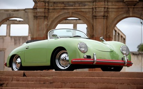 Картинка Porsche, Classic, Green, 1957, Speedster, Stairs