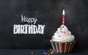 Обои decoration, cream, свечи, cake, candle, colours, День Рождения, cupcake, крем, кекс, celebration, colorful, rainbow, Happy ...