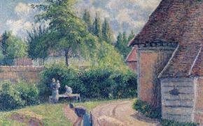 Картинка пейзаж, люди, картина, быт, Крестьянский Дом, Камиль Писсарро