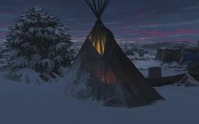 Обои лагерь, sacred land, Faraz Shanyar, фантастика, арт, ночь