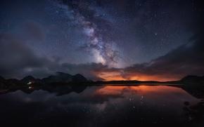 Картинка небо, звезды, свет, горы, ночь, млечный путь, фьорд