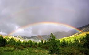 Картинка горы, радуга, Природа после дождя