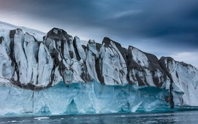 Картинка лед, зима, море, небо, облака, снег, тучи, лёд, ледник, айсберг, льды, льдины, север, рельеф, глыбы, ...