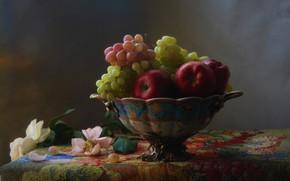 Картинка натюрморт с виноградом, натюрморт с яблоками, натюрморт с розами
