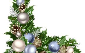 Картинка шары, белый фон, векторная графика, ветки, Новый год