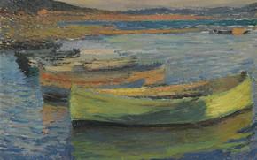Картинка картина, морской пейзаж, Анри-Жан Гильом Мартин, Henri Matrin, Лодки на Окраине Коллиура