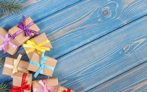 Картинка коробки, gifts, wood, бант, лента, подарки