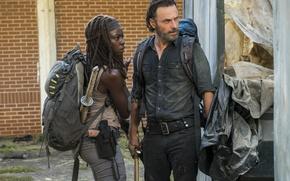 Картинка оружие, The Walking Dead, Andrew Lincoln, Michonne, Danai Gurira, Rick, Season 7, зомби апокалипсис