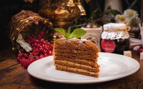 Картинка ягоды, мед, торт, медовик