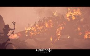 Картинка Девушка, Робот, Огонь, Дождь, Мех, Лук, PS4 Pro, Horizon Zero Dawn, Элой, SonyPlaystation