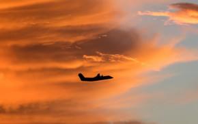 Обои самолет, силуэт, облака