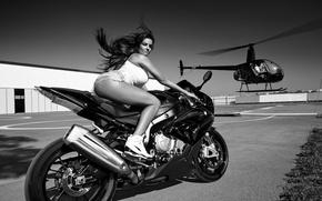 Обои байк, девушка, мотоцикл, вертолет