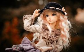 Картинка взгляд, игрушка, кукла, девочка, шляпка