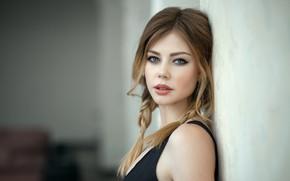 Картинка girl, Model, long hair, boobs, photo, brown, blue eyes, beauty, braid, lips, face, chest, portrait, …